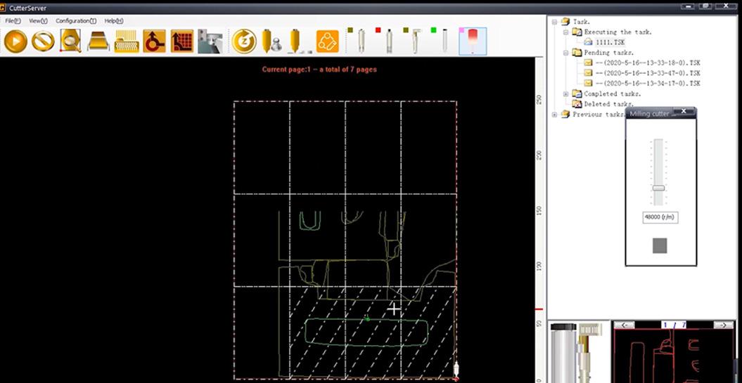 CutterServer is software om gereedschapsparameters in te stellen en snijtaken te bewerken.